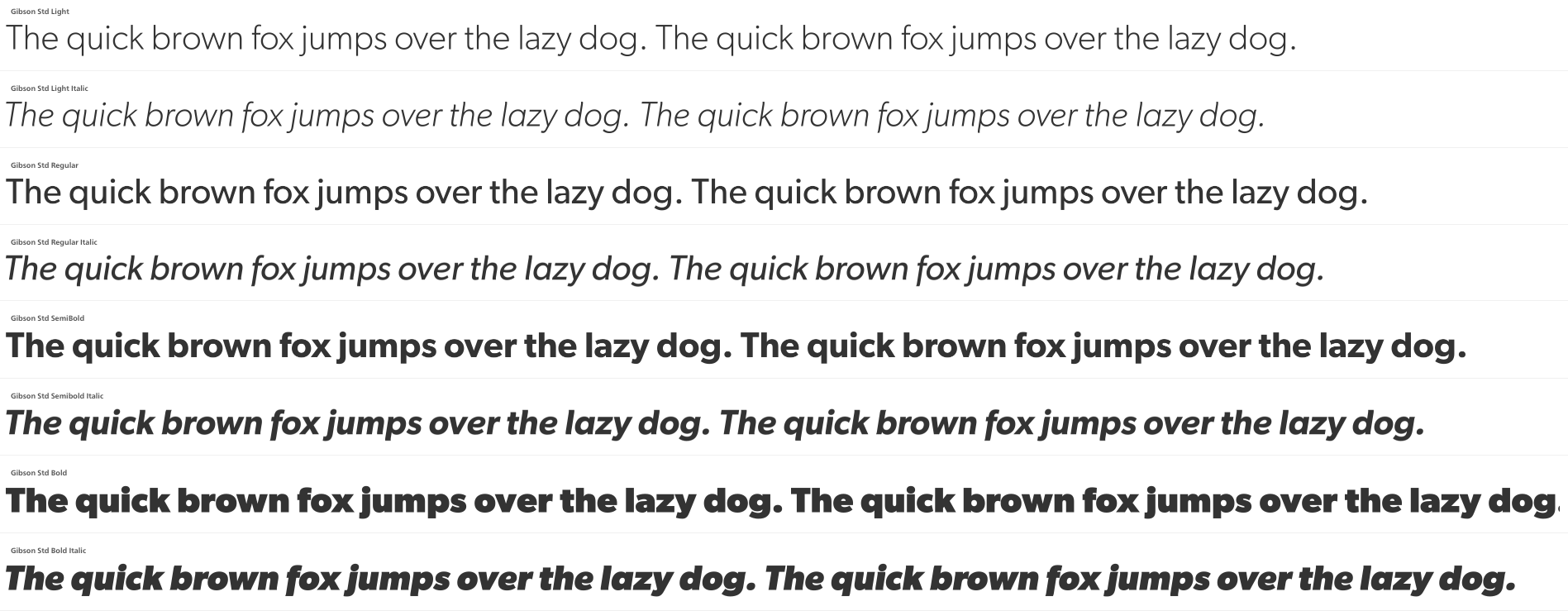 Gibson Font Preview